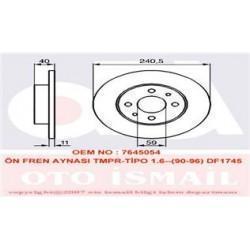 ÖN FREN AYNASI TMPR 2.0 TİPO FIAT 500 07 PUNTO 1.9JTD 03 PANDA 03 ALFA 33 145 146 155 240.5x10.9x4DL